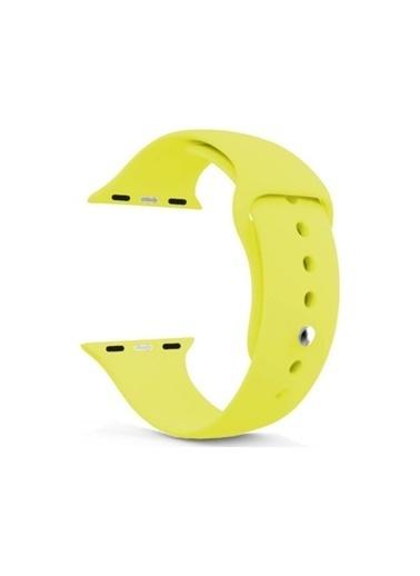 Jacobson Apple Watch 42-44 Mm Kordon Spor Kayışı Yumuşak Silikonkapalı Sarı Sarı